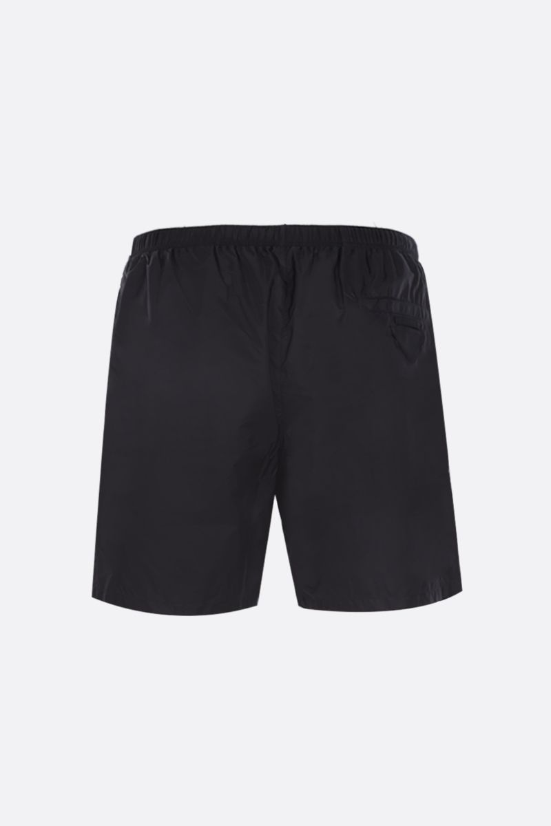 PRADA: logo patch-detailed nylon swimshorts Color Black_2