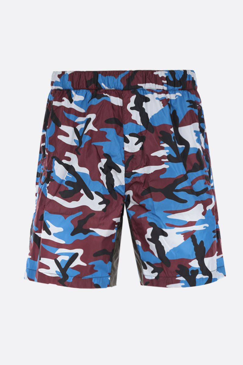 PRADA: camouflage printed nylon swim shorts Color Red_1