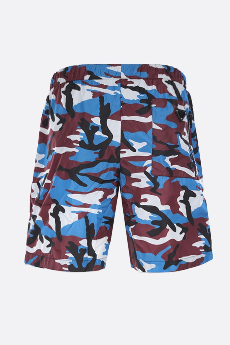 PRADA: camouflage printed nylon swim shorts Color Red_2