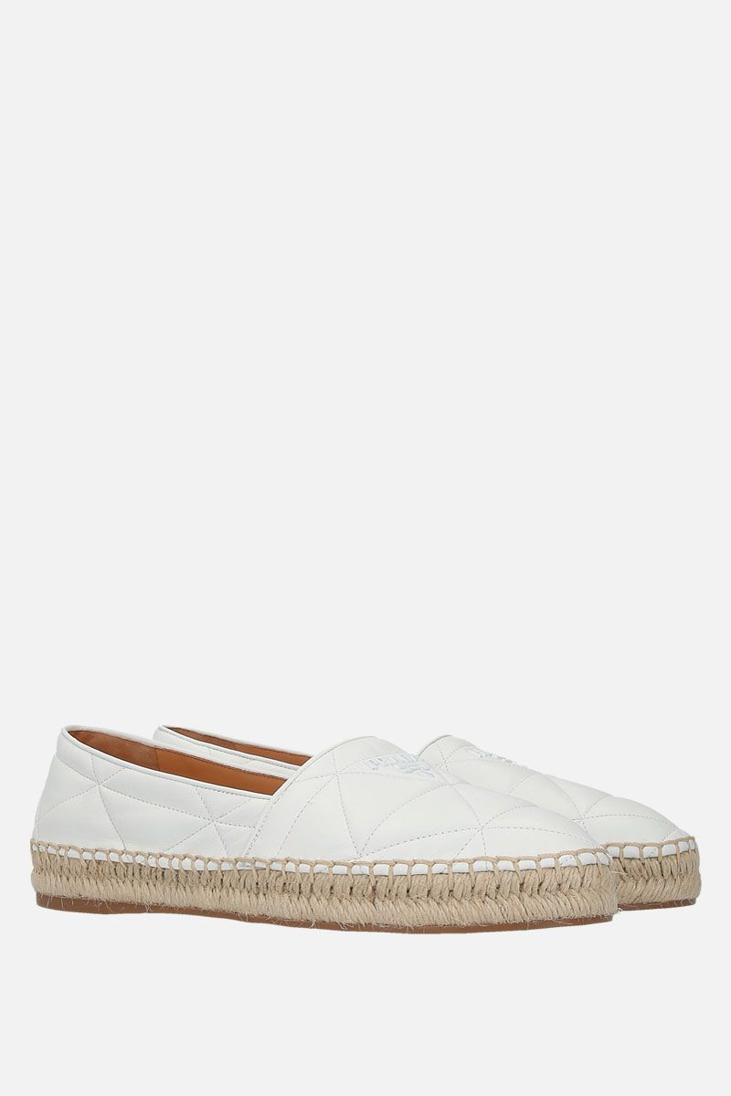 PRADA: quilted nappa espadrilles Color White_2