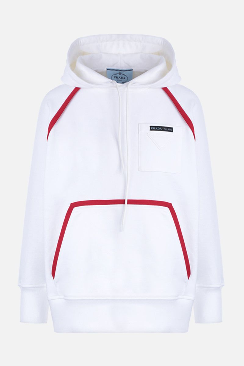 PRADA: cotton oversized hoodie with contrasting trims Color White_1