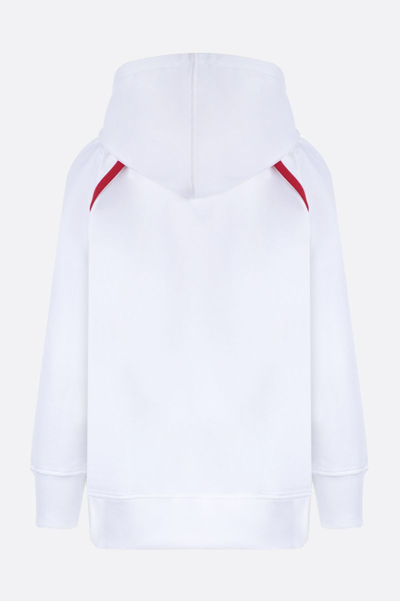 PRADA: cotton oversized hoodie with contrasting trims Color White_2