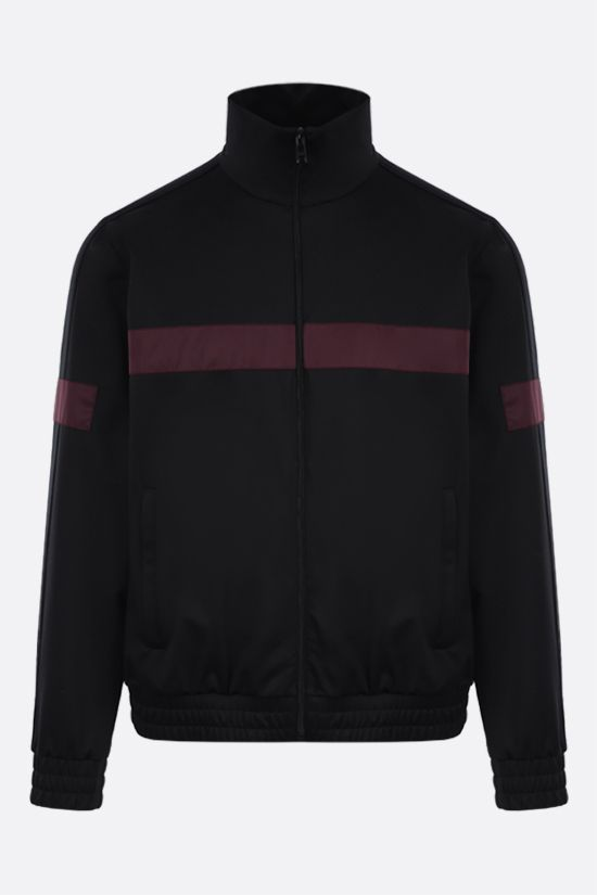 PRADA: contrast band-detailed technical cotton full-zip sweatshirt Color Black_1
