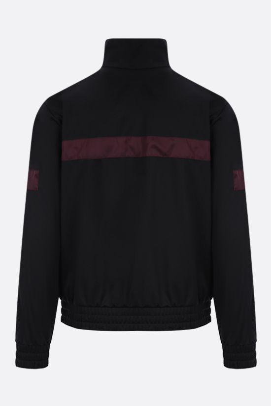 PRADA: contrast band-detailed technical cotton full-zip sweatshirt Color Black_2