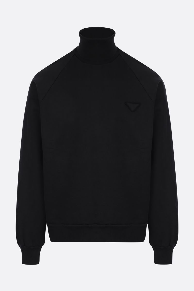 PRADA: logo-detailed cotton oversize sweatshirt Color Black_1