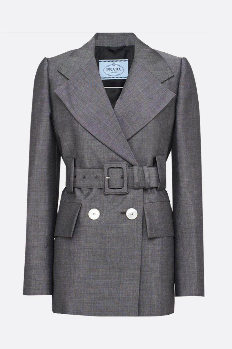 PRADA: mohair wool blend double-breasted jacket Color Grey_1