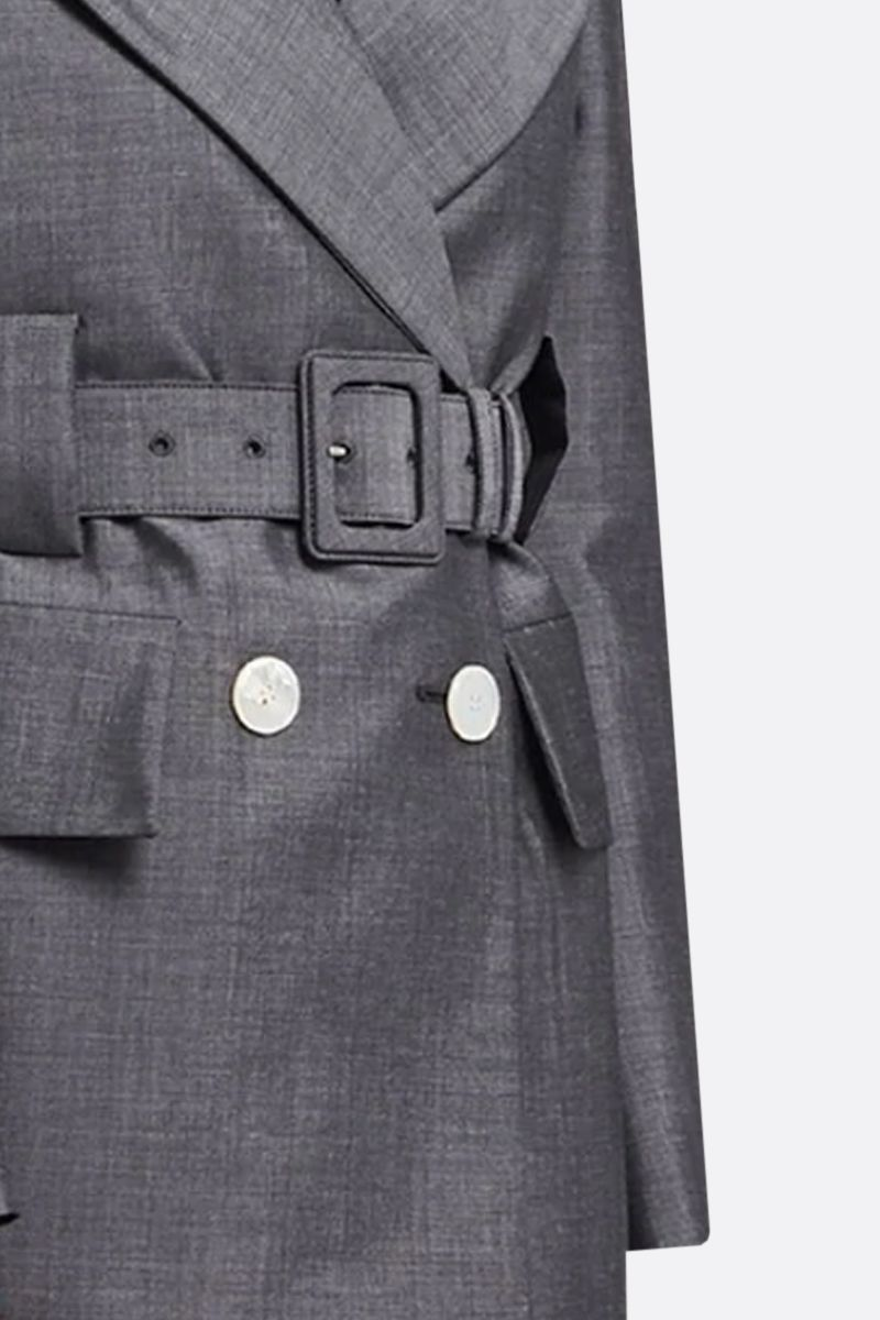 PRADA: mohair wool blend double-breasted jacket Color Grey_3