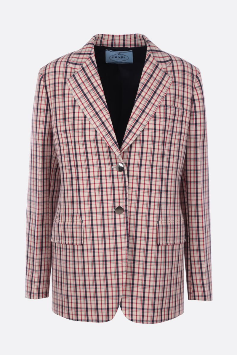 PRADA: check wool single-breasted jacket Color Red_1