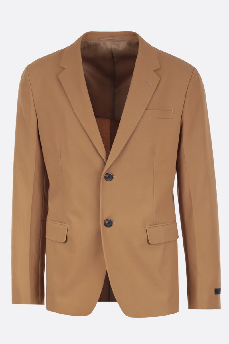 PRADA: lightweight cotton single-breasted jacket Color Brown_1