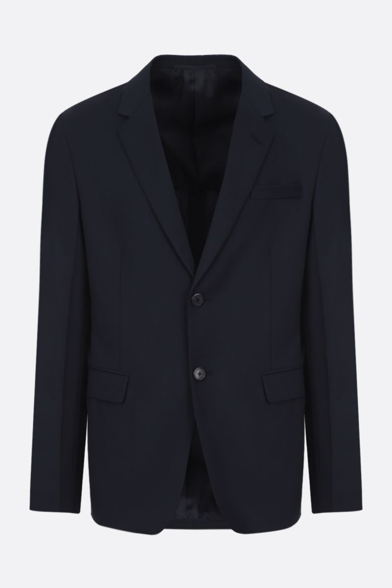 PRADA: wool mohair blend single-breasted jacket Color Blue_1