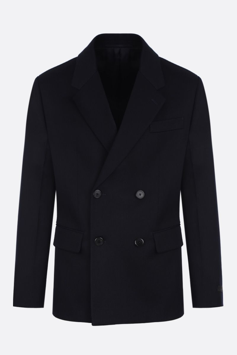 PRADA: wool gabardine double-breasted jacket Color Blue_1