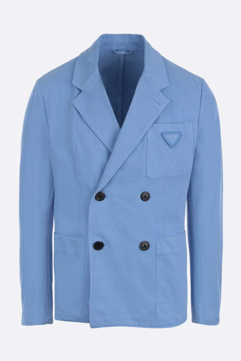 PRADA: denim double-breasted jacket Color Blue_1
