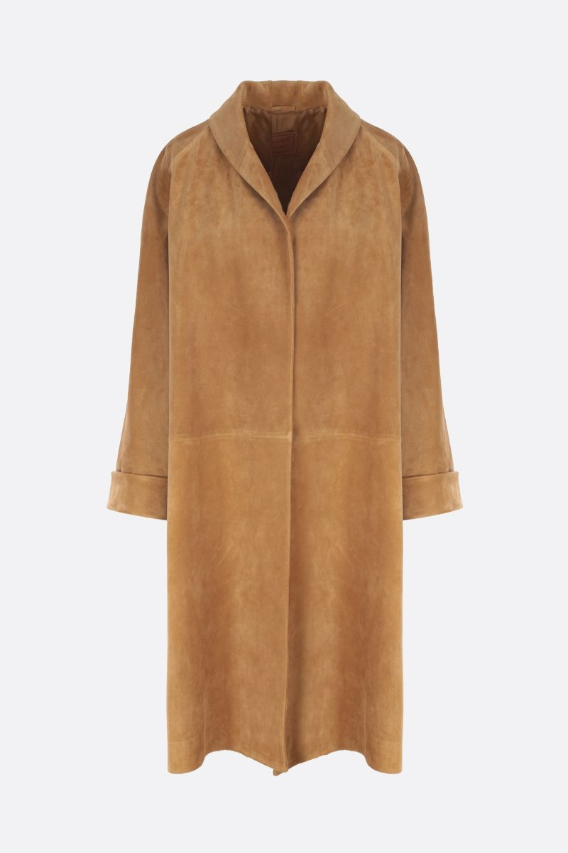PRADA: oversized suede overcoat Color Brown_1
