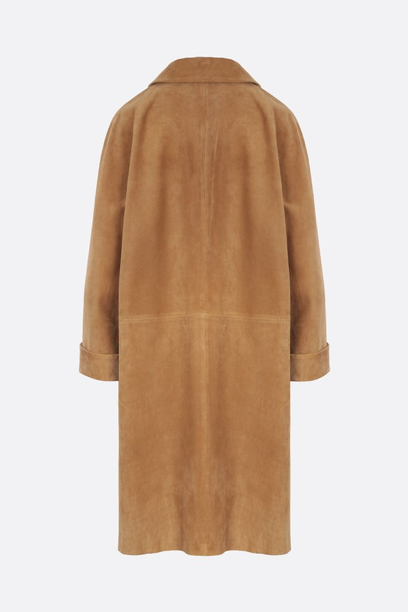 PRADA: oversized suede overcoat Color Brown_2