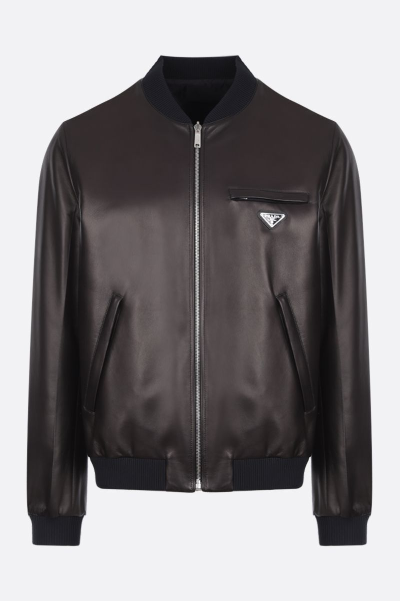 PRADA: reversible bomber jacket in nappa and nylon Color Black_1