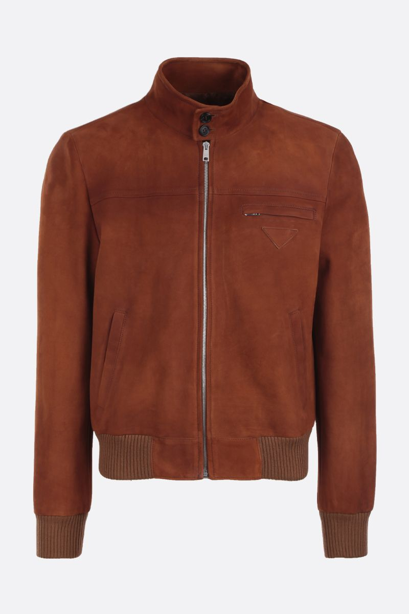 PRADA: velvet suede bomber jacket Color Brown_1