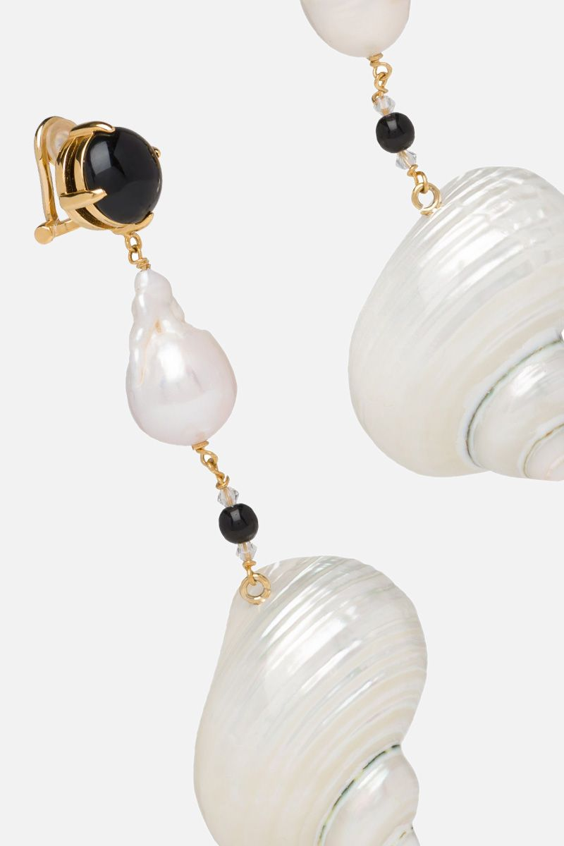 PRADA: shell-detailed silver earrings Color White_2