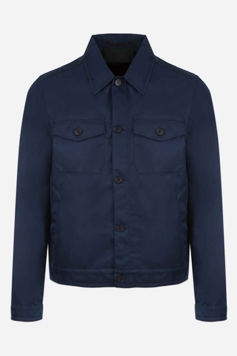 PRADA: technical cotton jacket Color Blue_1