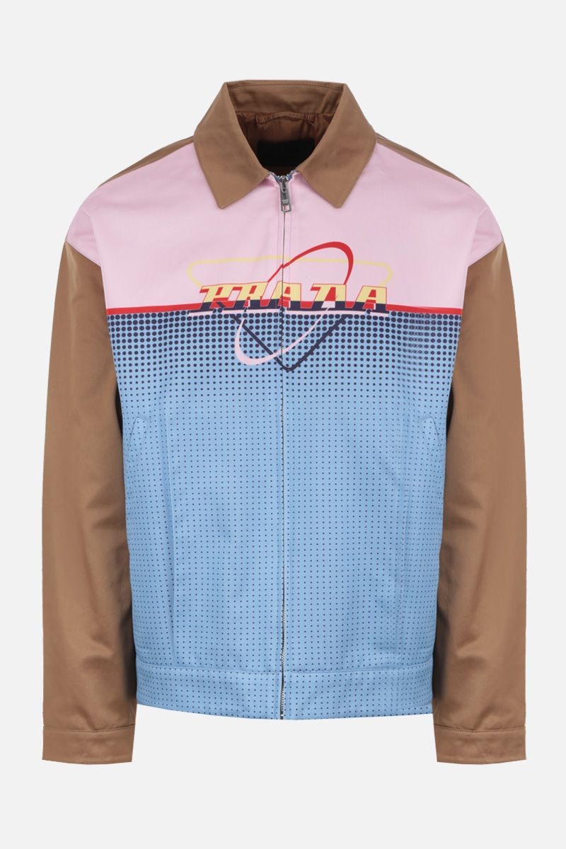 PRADA: graphic logo print cotton full-zip jacket_1