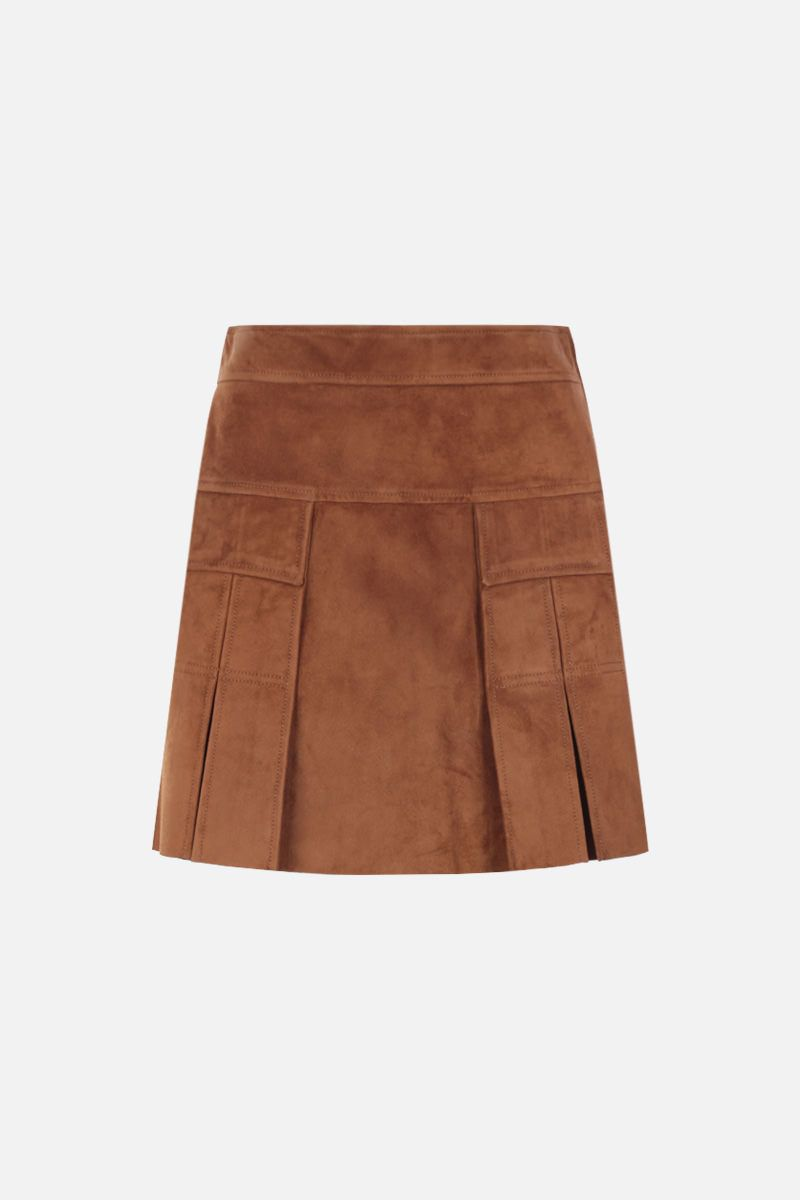 PRADA: suede A-line miniskirt Color Brown_1