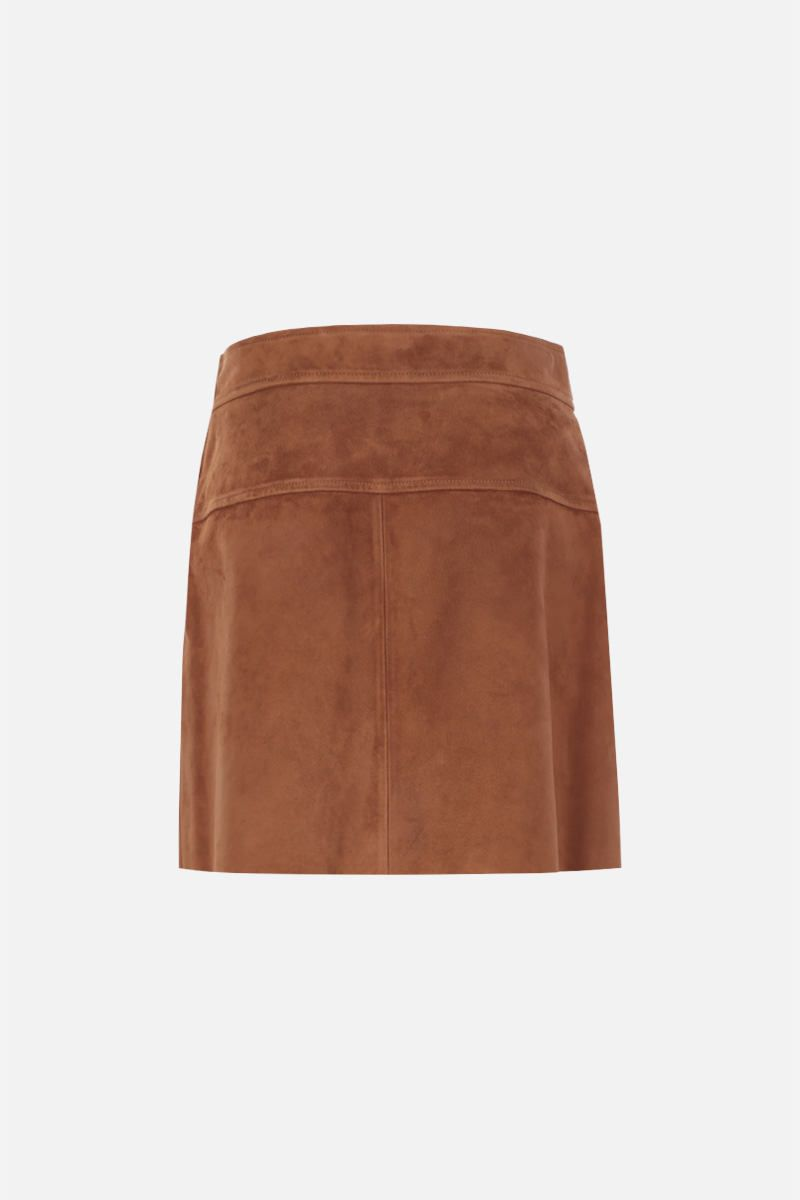 PRADA: suede A-line miniskirt Color Brown_2