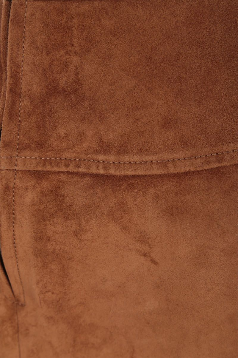 PRADA: suede A-line miniskirt Color Brown_3