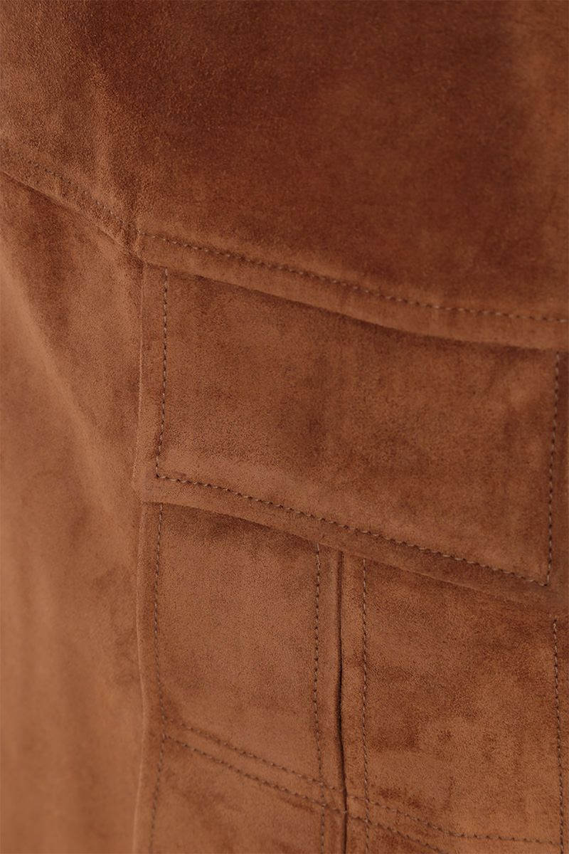 PRADA: suede A-line miniskirt Color Brown_4