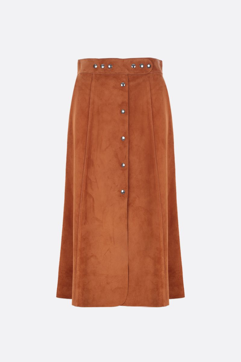 PRADA: suede A-line skirt Color Neutral_1