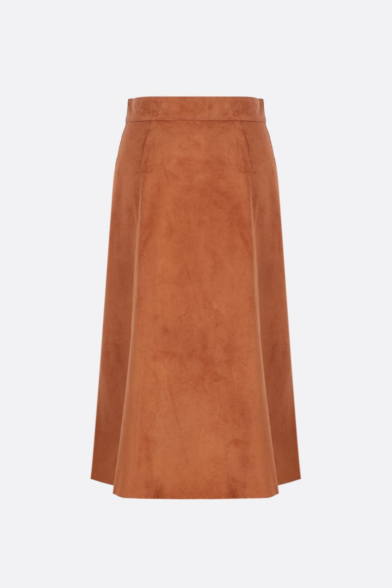 PRADA: suede A-line skirt Color Neutral_2