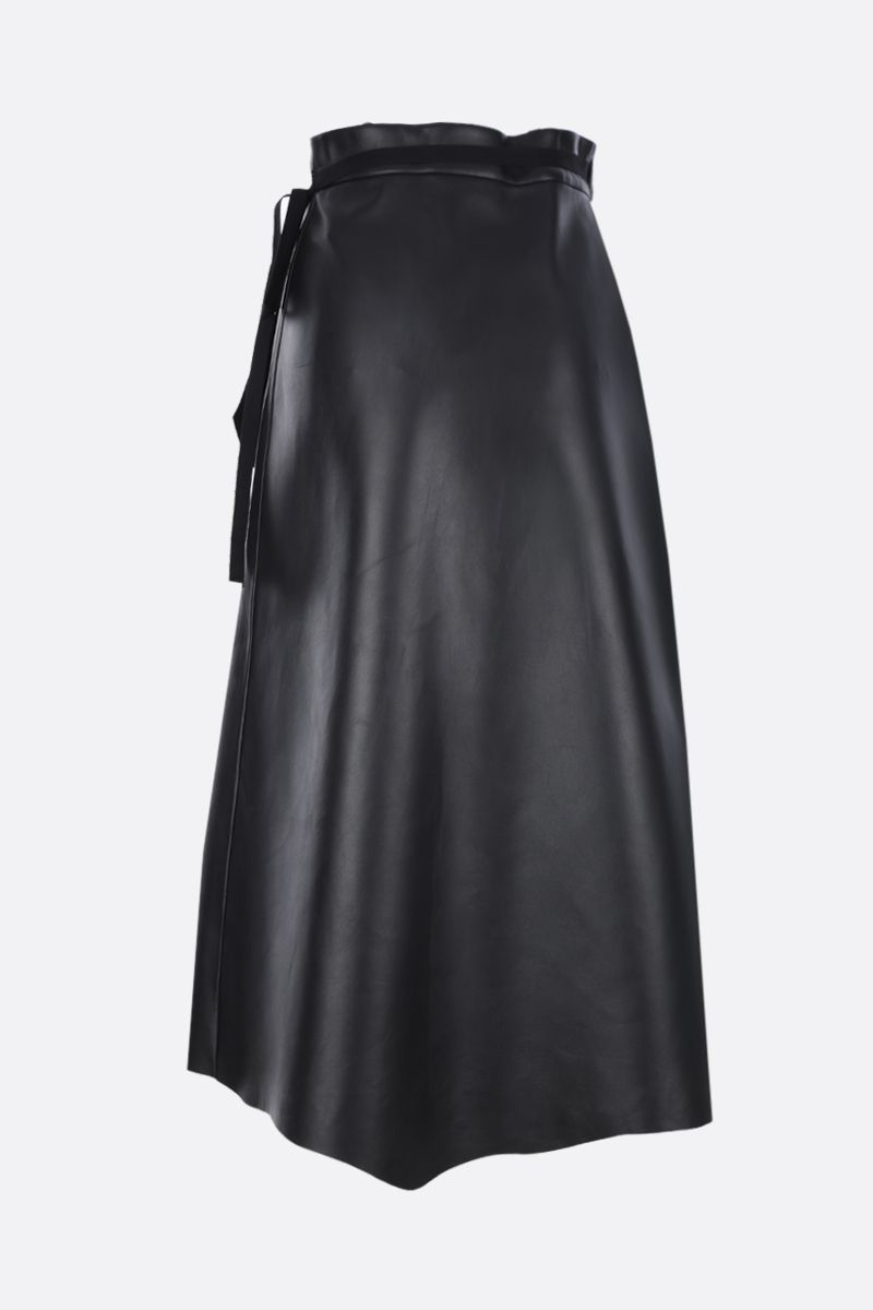 PRADA: fern embroidered nappa wrap skirt Color Black_2