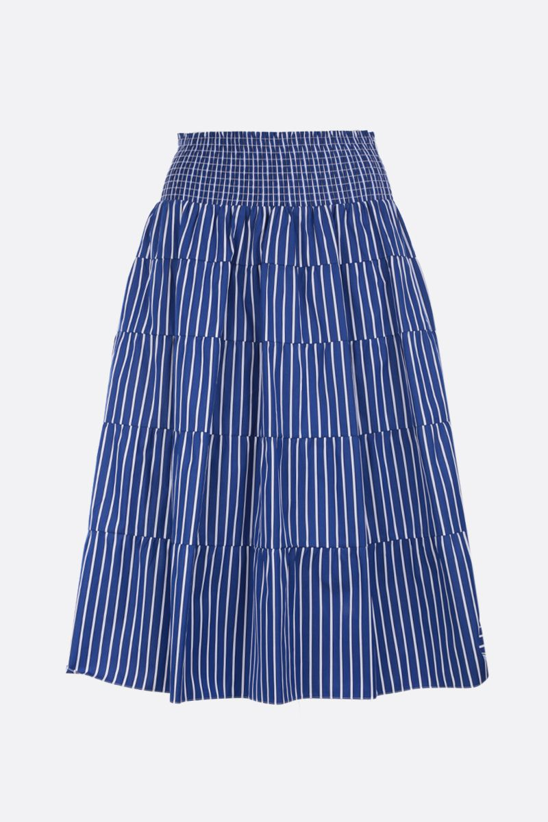 PRADA: striped poplin flounced skirt Color Blue_1