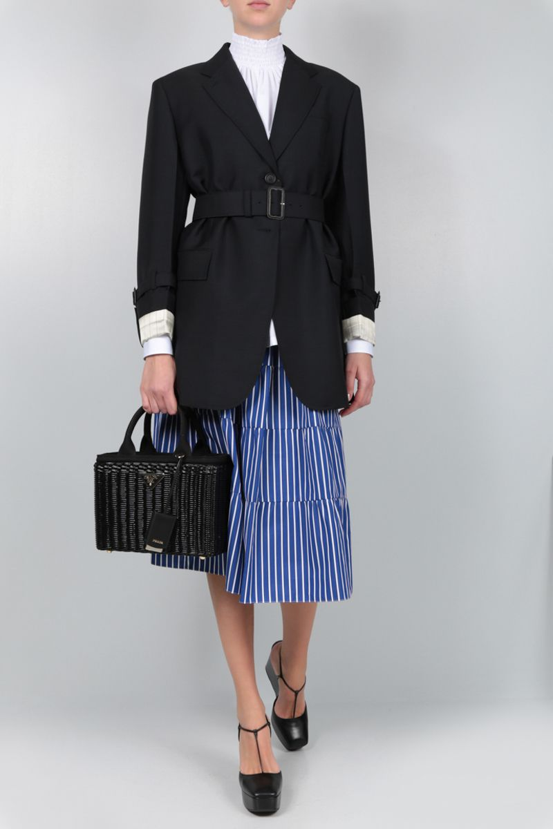 PRADA: striped poplin flounced skirt Color Blue_2
