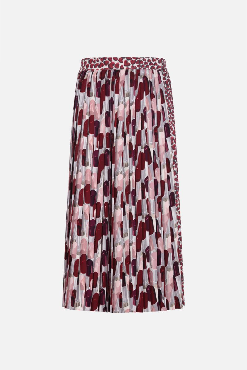 PRADA: printed sablè wrap pleated skirt Color Red_1