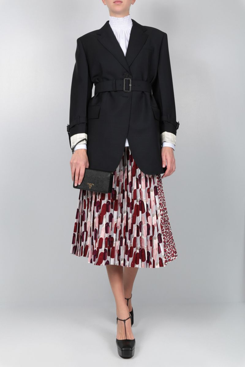 PRADA: printed sablè wrap pleated skirt Color Red_2
