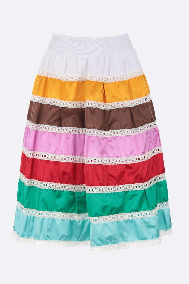 PRADA: poplin and duchesse midi skirt with lace inserts Color Multicolor_1