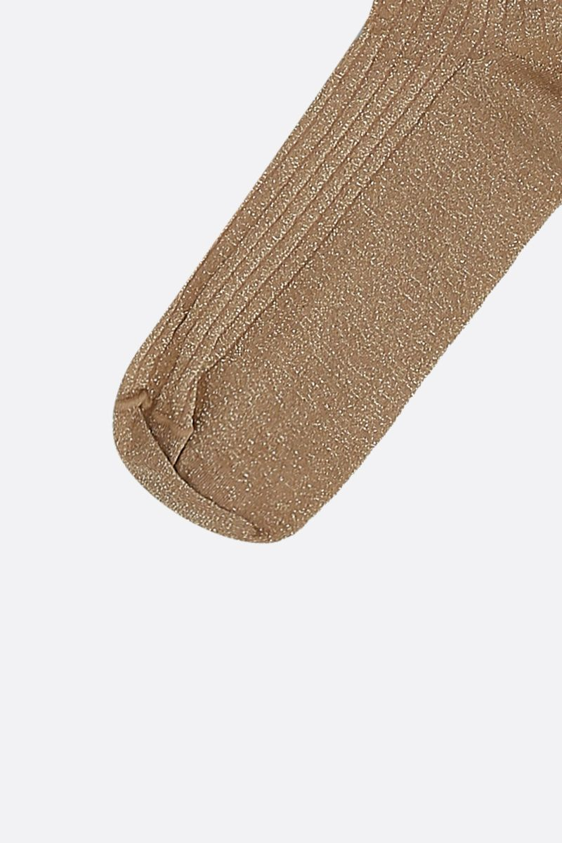 PRADA: logo-detailed ribbed lurex socks Color Gold_2