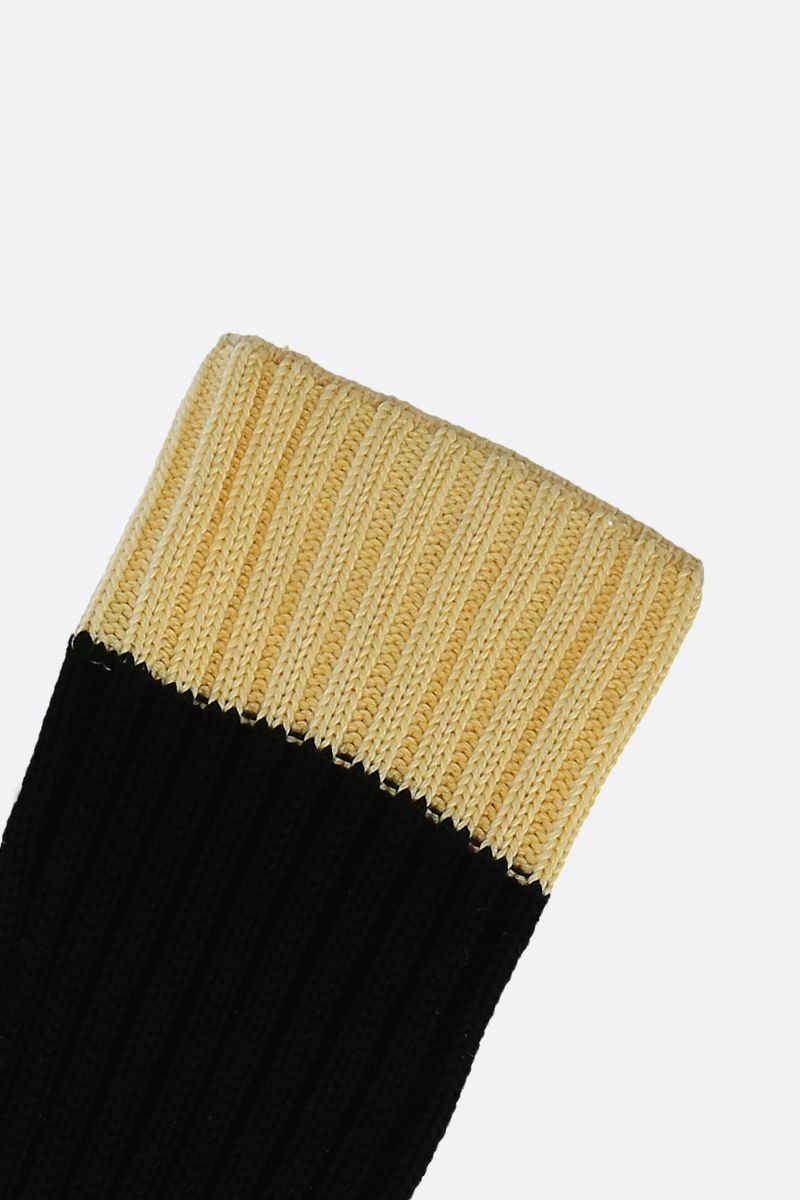 PRADA: contrast trim-detailed terry socks Color Black_3