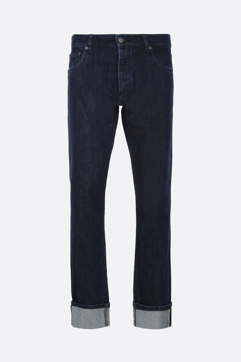 PRADA: jeans slim-fit con logo Colore Blu_1