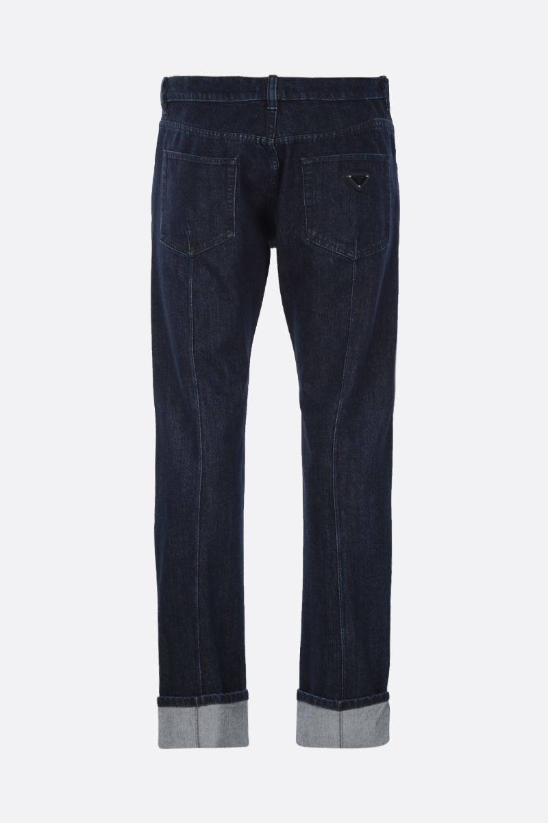 PRADA: jeans slim-fit con logo Colore Blu_2