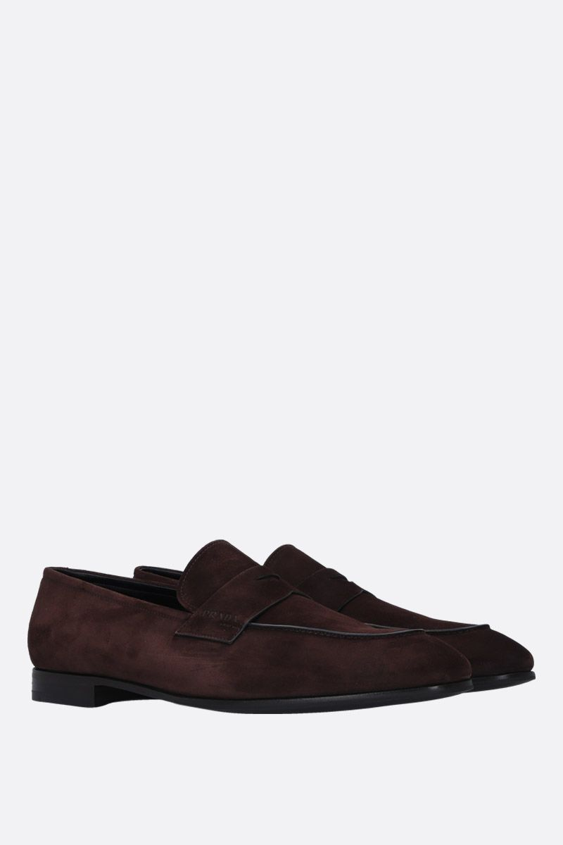 PRADA: soft suede loafers Color Brown_3