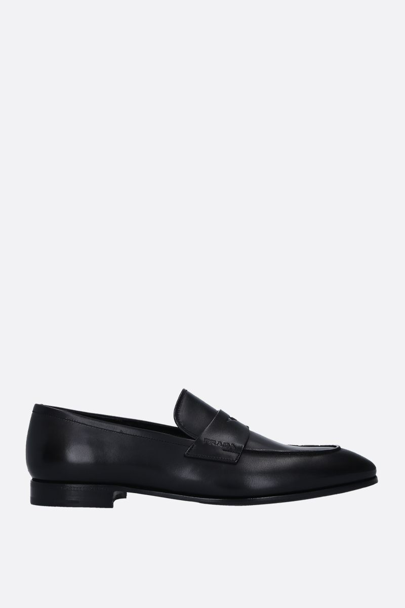 PRADA: smooth leather loafers Color Black_1