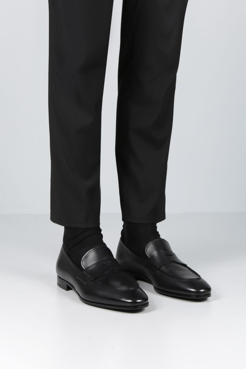 PRADA: smooth leather loafers Color Black_2