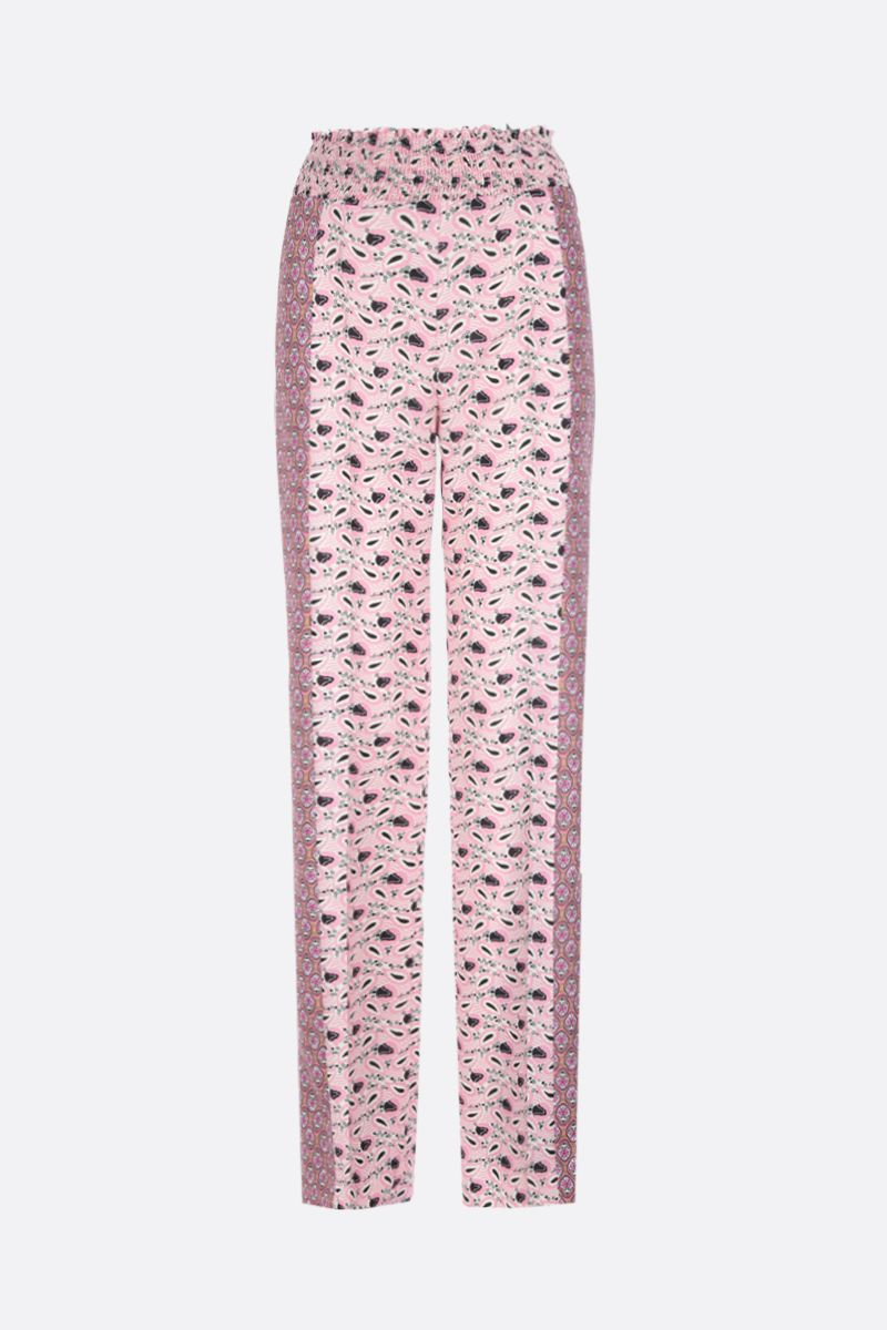 PRADA: Paisley print sablè high-waisted pants Color Pink_1