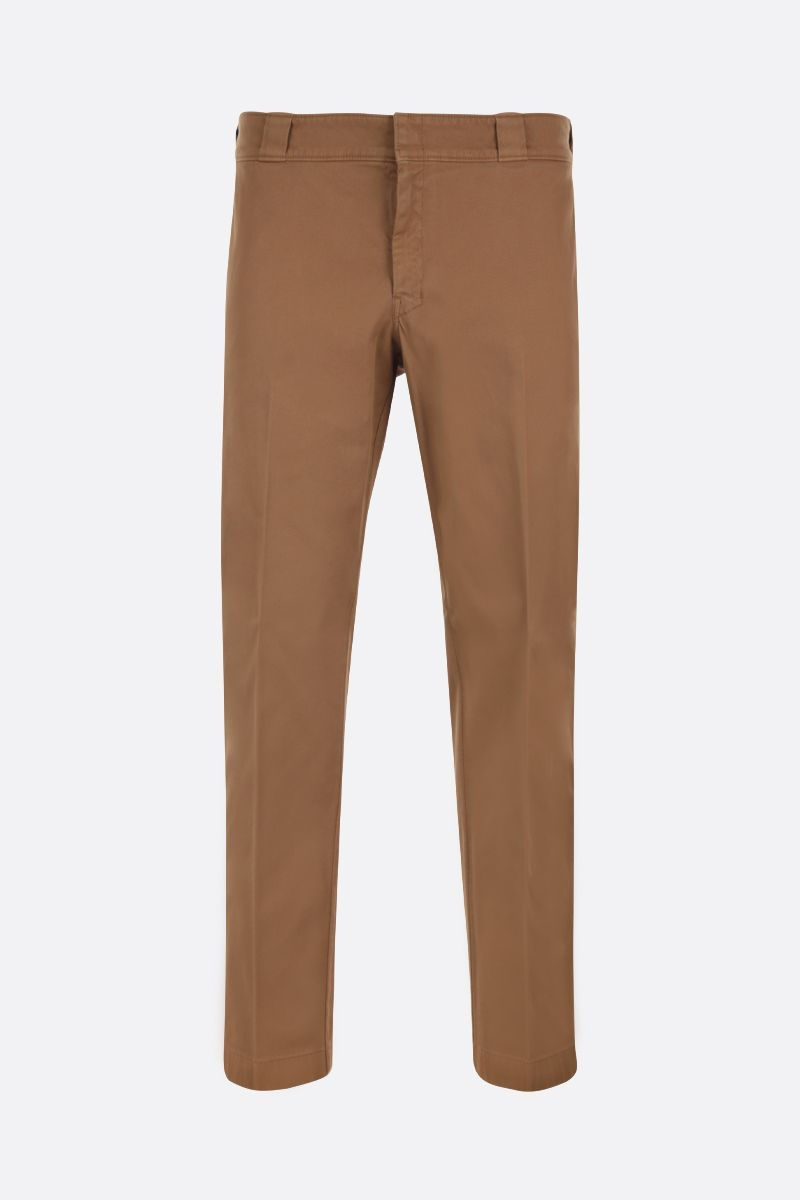 PRADA: cotton gabardine slim-fit pants Color Brown_1