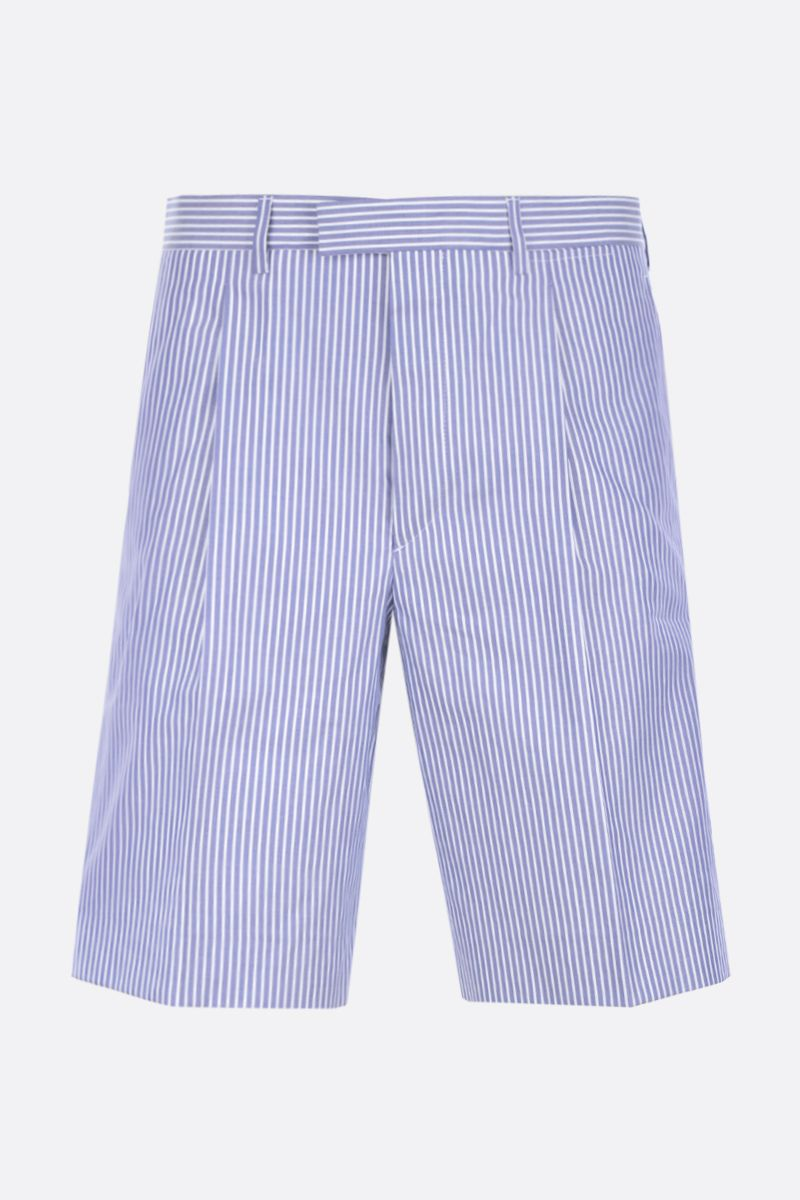 PRADA: striped cotton regular-fit shorts Color Blue_1