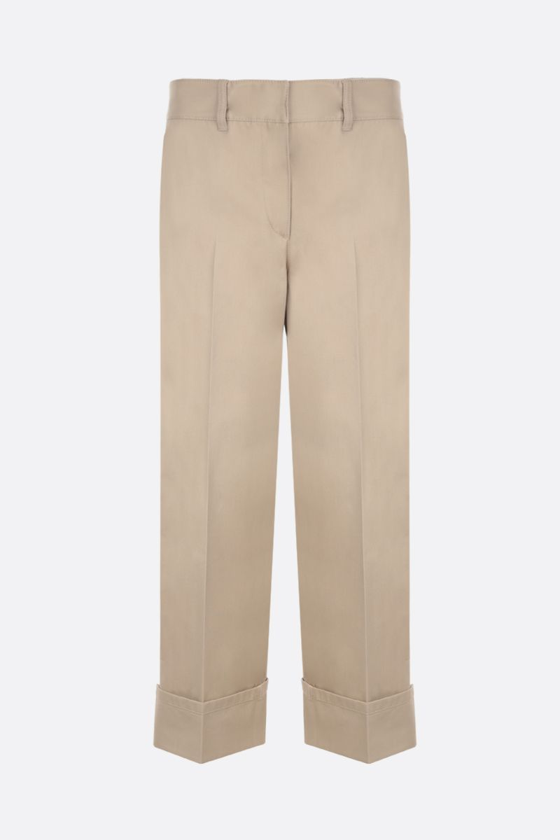 PRADA: pantalone straight-fit in cotone Colore Marrone_1