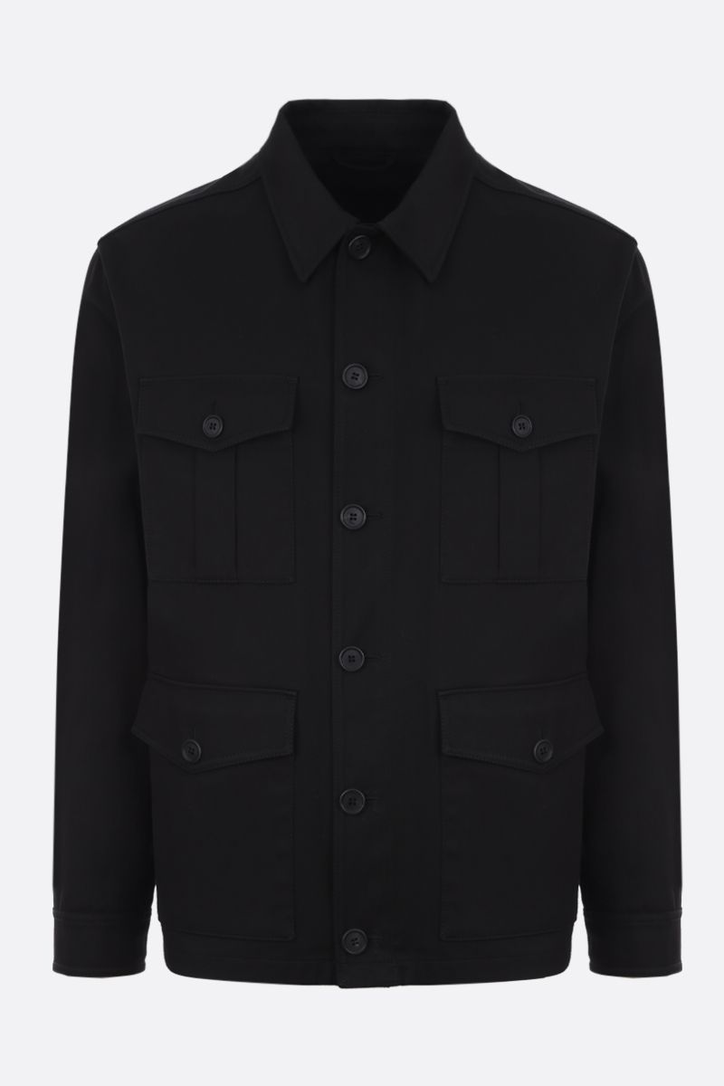 PRADA: gabardine field jacket Color Black_1