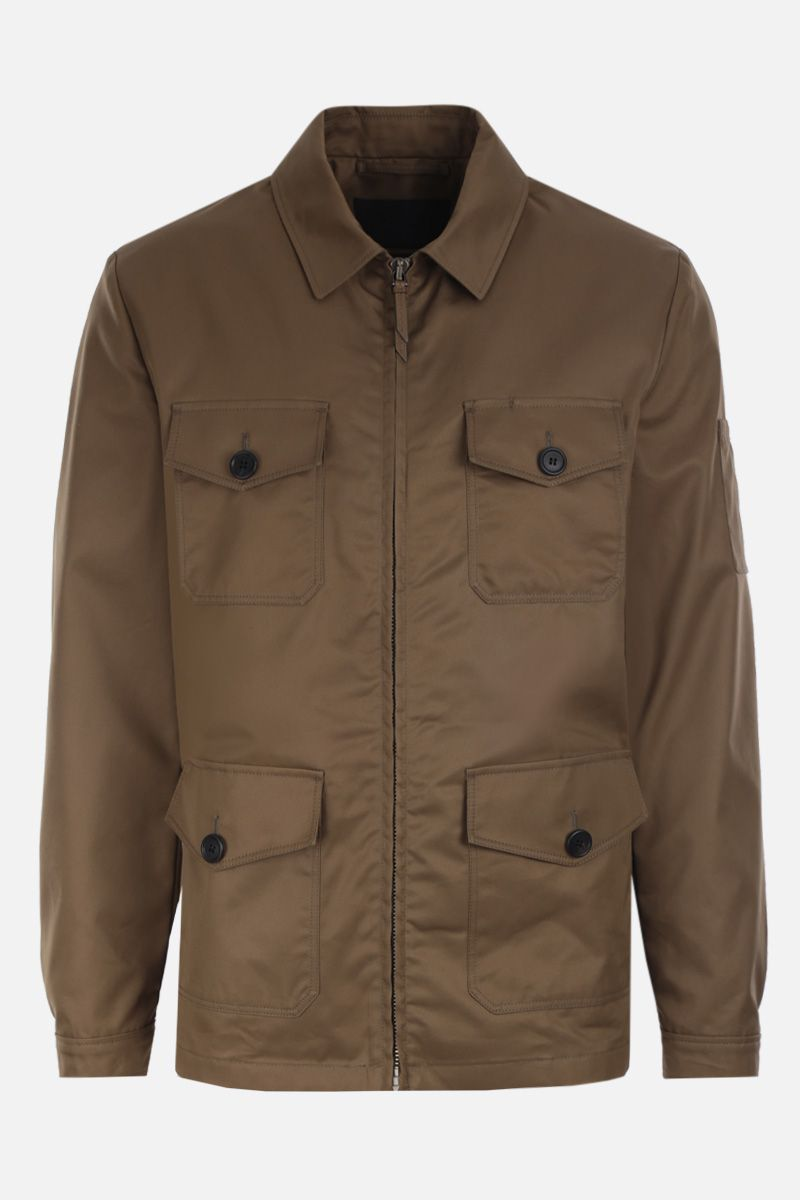 PRADA: cotton blend safari jacket Color Brown_1