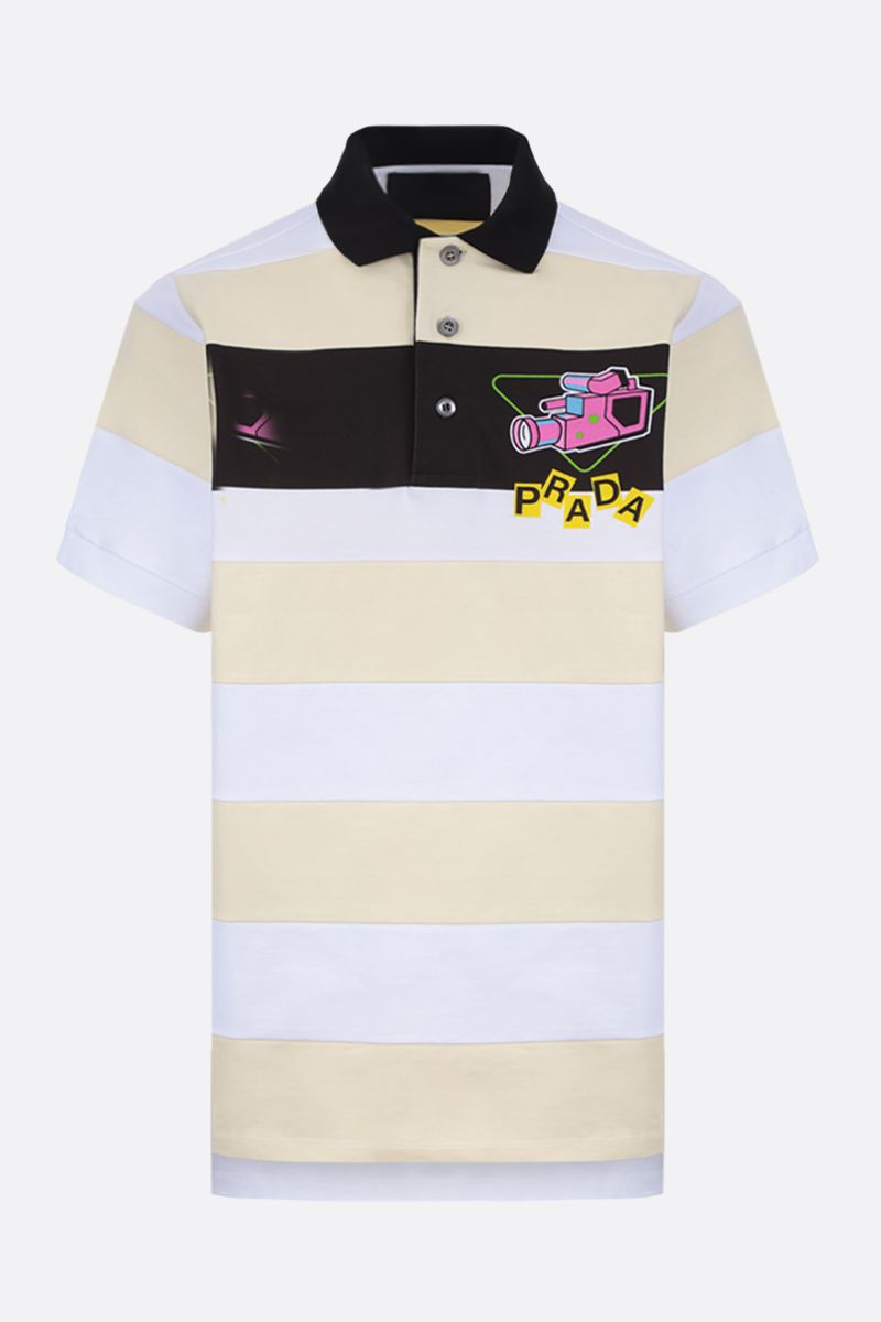 PRADA: graphic logo print striped cotton polo shirt Color Multicolor_1