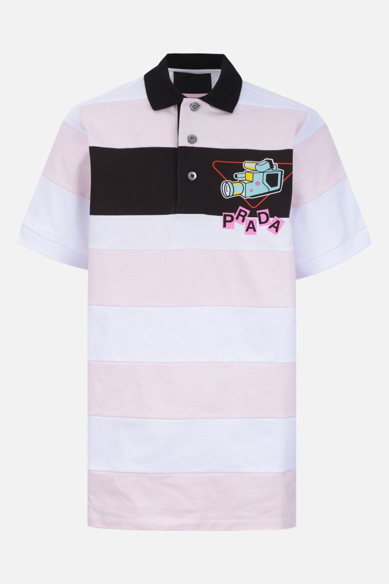 PRADA: graphic logo print striped cotton polo shirt Color White_1